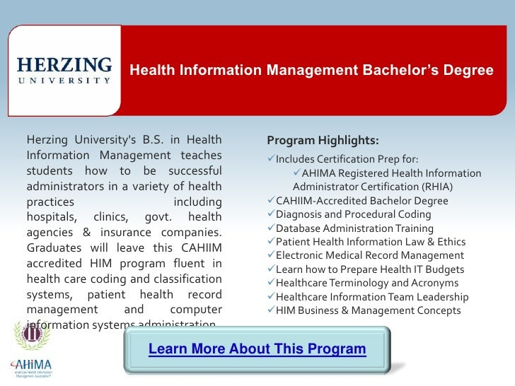 Health Information Management Degree Cahiim Accredited