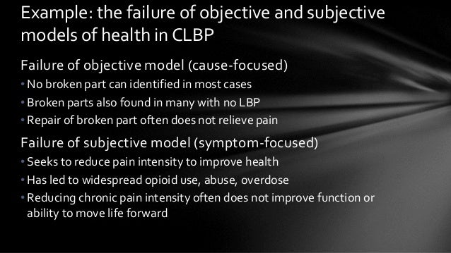 Failure of objective model (cause-focused) • No broken part can identified in most cases • Broken parts also found in many...