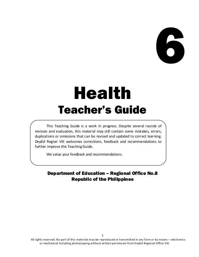 MAPEH 6 Health K 12 Teacher S Guide Q1 2017