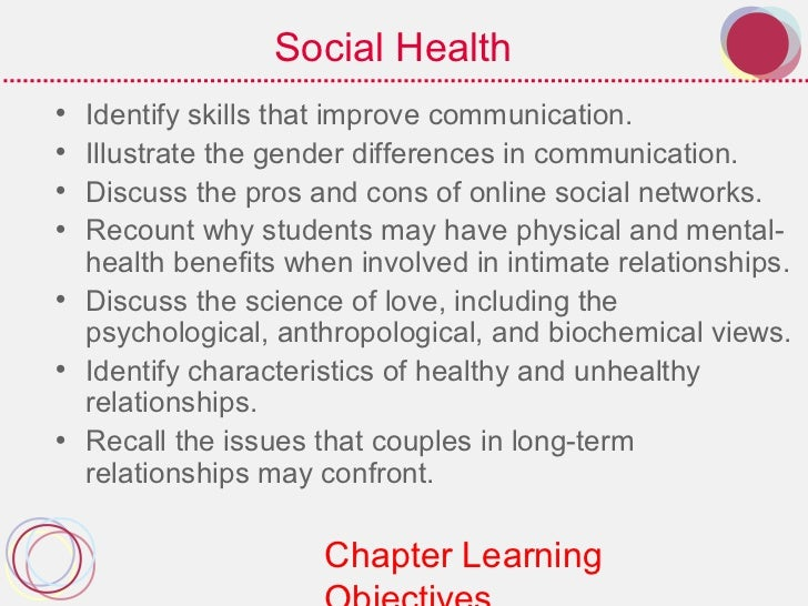 Social Health• Identify skills that improve communication.• Illustrate the gender differences in communication.• Discuss t...