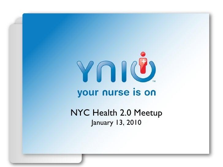 NYC Health 2.0 Meetup January 13, 2010