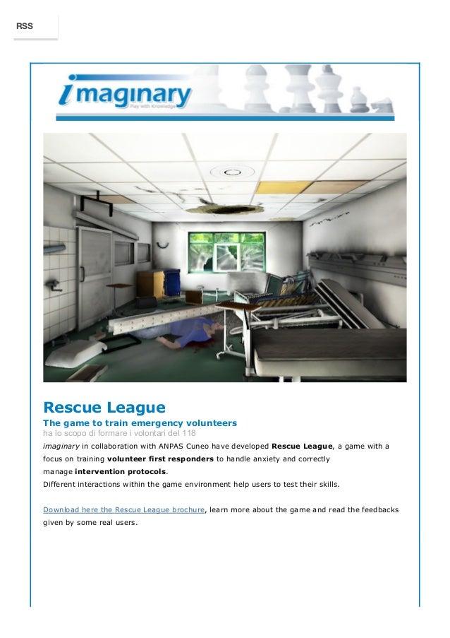 Rescue League  The game to train emergency volunteers  ha lo scopo di formare i volontari del 118  imaginary in collaborat...