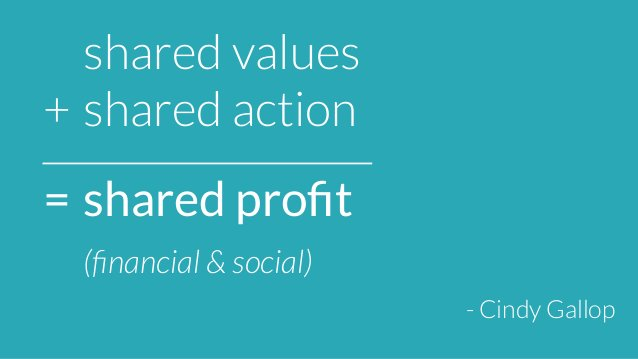 shared values  +  shared action  =  shared profit  (financial & social)  - Cindy Gallop
