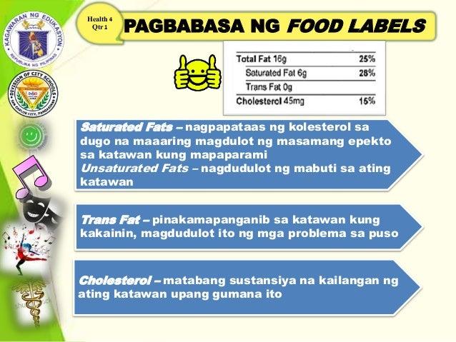 PAGBABASA NG FOOD LABELS Health 4 Qtr 1 Saturated Fats – nagpapataas ng kolesterol sa dugo na maaaring magdulot ng masaman...