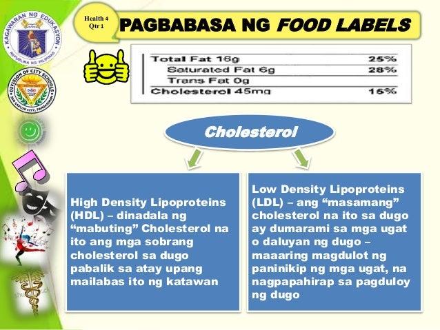 """PAGBABASA NG FOOD LABELS Health 4 Qtr 1 Cholesterol High Density Lipoproteins (HDL) – dinadala ng """"mabuting"""" Cholesterol n..."""