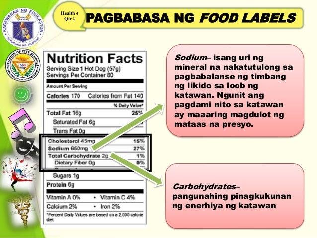 PAGBABASA NG FOOD LABELS Health 4 Qtr 1 Sodium– isang uri ng mineral na nakatutulong sa pagbabalanse ng timbang ng likido ...