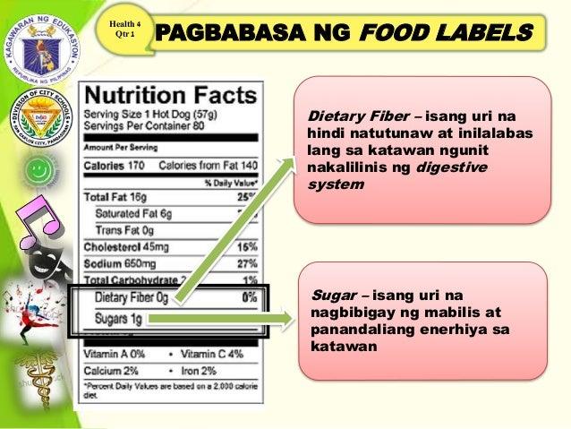 PAGBABASA NG FOOD LABELS Health 4 Qtr 1 Dietary Fiber – isang uri na hindi natutunaw at inilalabas lang sa katawan ngunit ...
