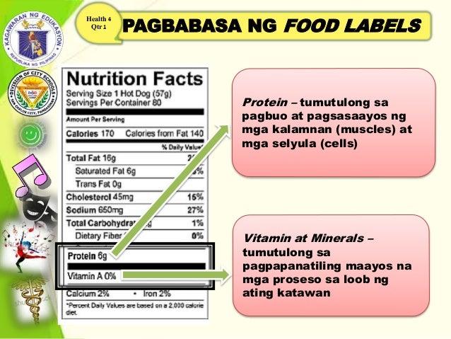 PAGBABASA NG FOOD LABELS Health 4 Qtr 1 Protein – tumutulong sa pagbuo at pagsasaayos ng mga kalamnan (muscles) at mga sel...