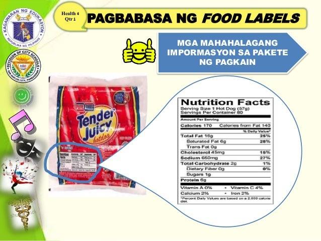 PAGBABASA NG FOOD LABELS Health 4 Qtr 1 MGA MAHAHALAGANG IMPORMASYON SA PAKETE NG PAGKAIN