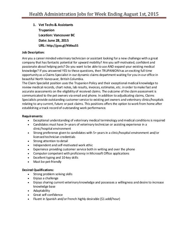 health admin job posting for week ending august 1st 2015, Human Body