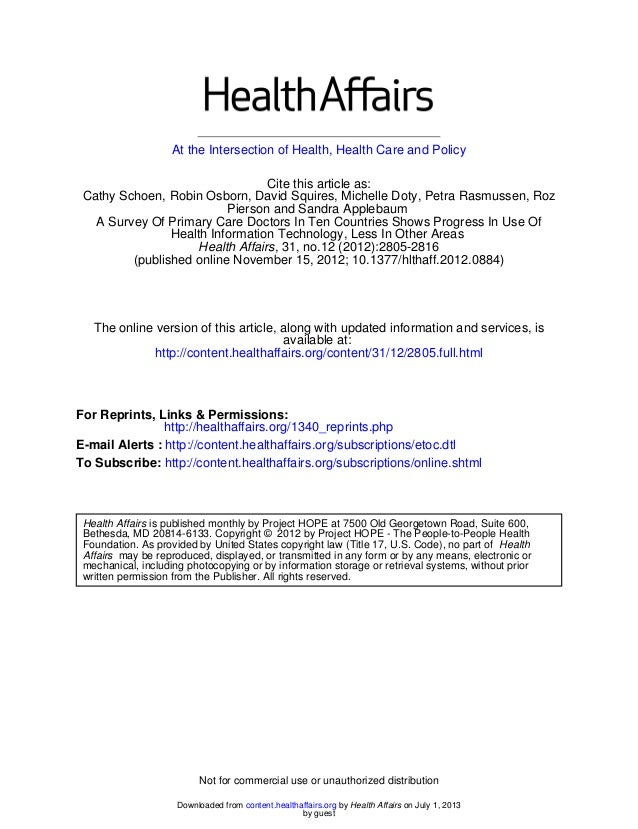 At the Intersection of Health, Health Care and Policy (published online November 15, 2012; 10.1377/hlthaff.2012.0884) , 31...