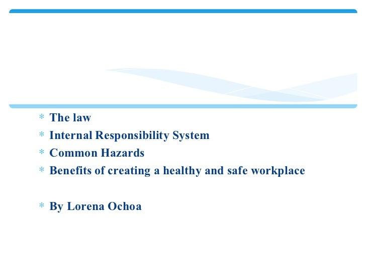 <ul><li>The law </li></ul><ul><li>Internal Responsibility System </li></ul><ul><li>Common Hazards </li></ul><ul><li>Benefi...