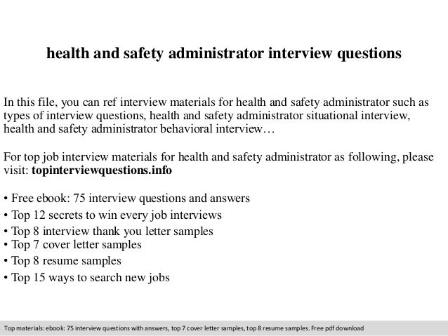Health And Safety Administrator Interview Questions In This File, You Can  Ref Interview Materials For ...