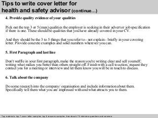 Health and safety advisor cover letter