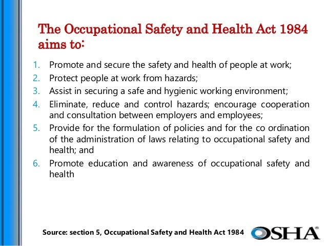 the occupational safety and health act osha The occupational health and safety act (better known as osha) is a piece of legislation that was enacted in 1970 this act established the occupational health and safety administration and tasked it with providing inspections of workplaces to make sure they are safe.