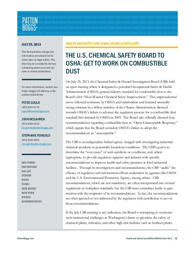 PattonBoggs.com Health and Safety Law (OSHA/MSHA) Client Alert 1 JULY 25, 2013 This Alert provides only general informatio...