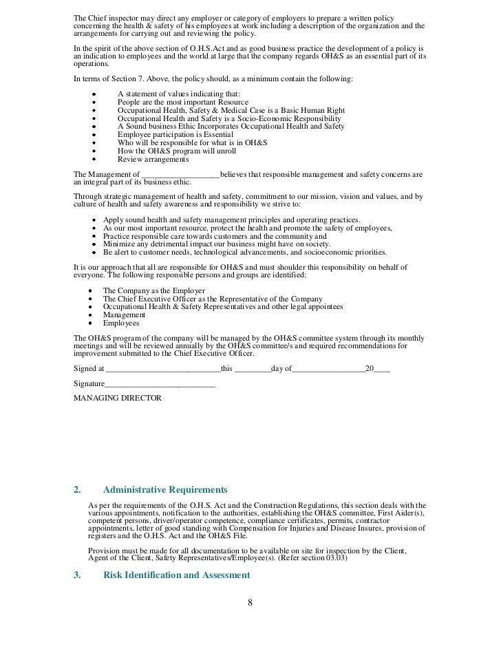 construction site safety management plan template health and file