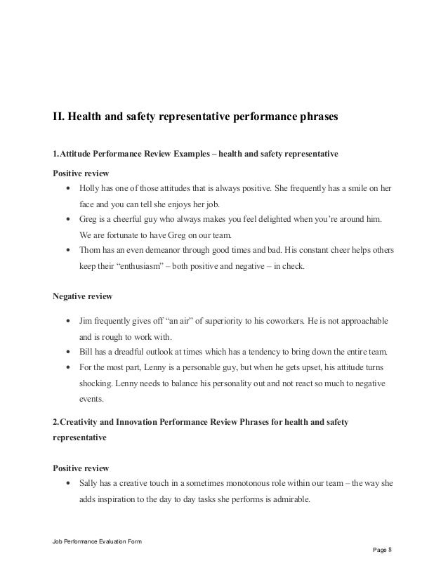 health and safety review template - health and safety representative performance appraisal
