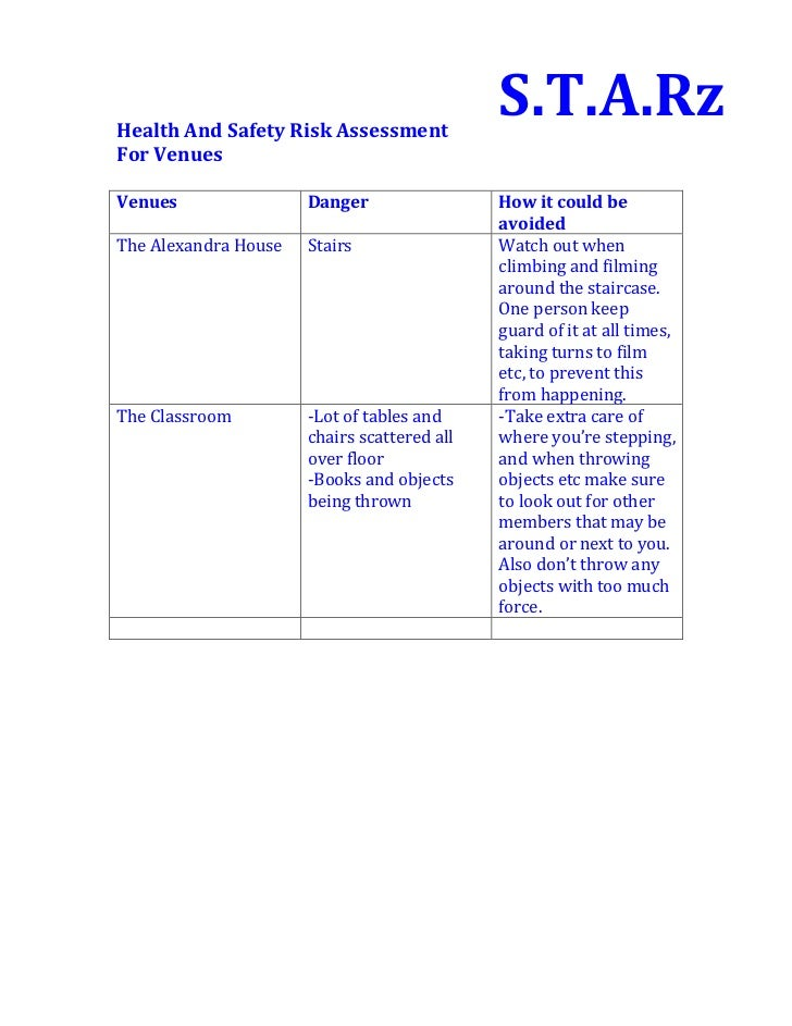 Health And Safety Risk Assessment                                             S.T.A.RzFor VenuesVenues                Dang...