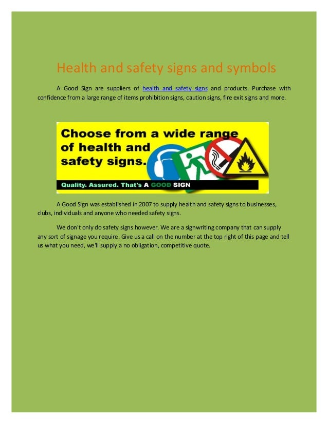 Health And Safty Signs And Symbols