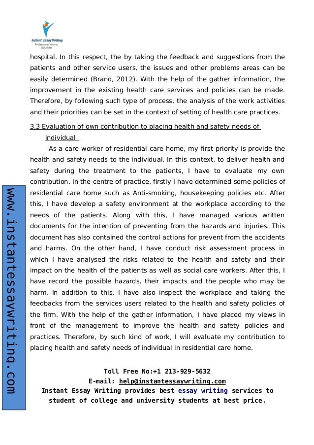 health and safety social care essay Health and safety in health and social care case study health and safety in health and social care work place acknowledgements in to the part of acknowledgement section of this assignment author can say that this.