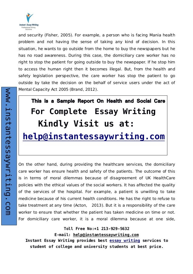 Essays On Science  Health Wwwinstantessaywritingcom  Essays About High School also Model Essay English Sample Report On Health And Social Care By Expert Writers Library Essay In English