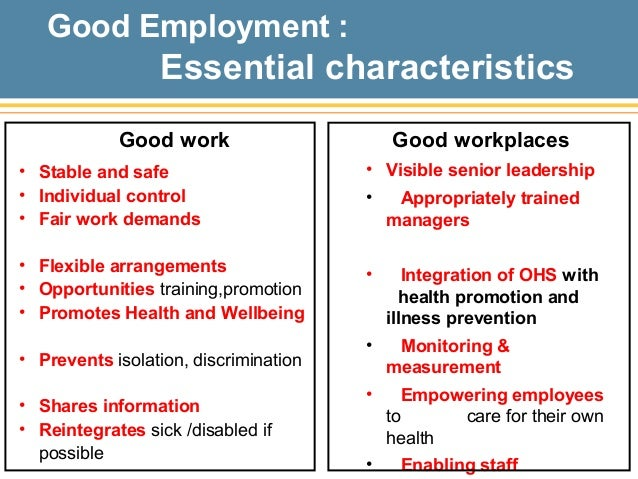 Dame Carol Black, Health and Wellbeing in the Working Environment