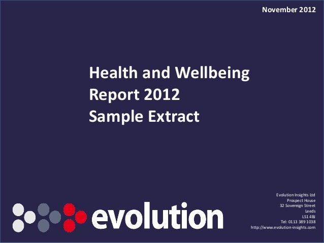 November 2012Health and WellbeingReport 2012Sample Extract                                                  Evolution Insi...