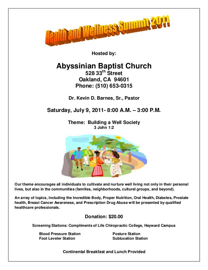 Hosted by:<br />Abyssinian Baptist Church<br />528 33th Street<br />Oakland, CA  94601<br />Phone: (510) 653-0315<br />Dr....