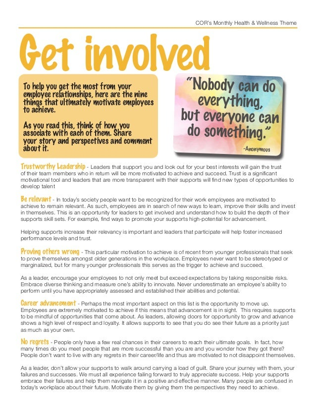 COR's Monthly Health & Wellness Theme Get involvedTo help you get the most from your employee relationships, here are the ...