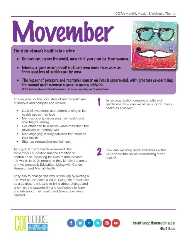 COR's Monthly Health & Wellness Theme MovemberThe state of men's health is in a crisis: • On average, across the world, m...