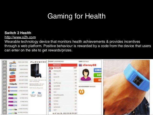 Gaming for Health  Switch 2 Health!  http://www.s2h.com!  Wearable technology device that monitors health achievements & p...
