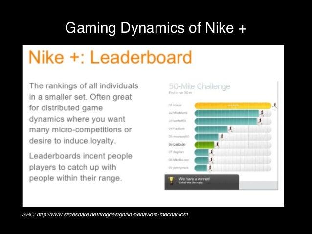 Gaming Dynamics of Nike +  SRC: http://designmind.com  SRC: http://www.slideshare.net/frogdesign/iln-behaviors-mechanics1