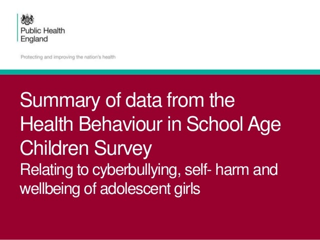 Summary of data from the Health Behaviour in School Age Children Survey Relating to cyberbullying, self- harm and wellbein...