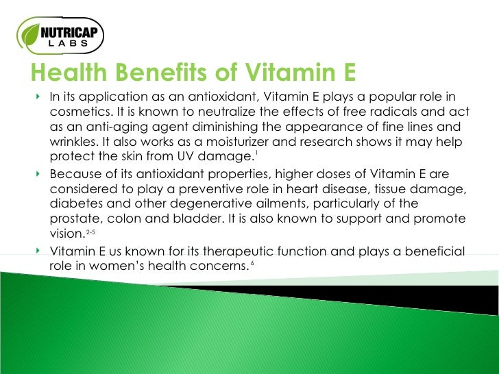 an introduction to the benefits of vitamin e Vitamin b7 (biotin, vitamin h, or vitamin b8) is required by all organisms there are eight different forms of biotin but only one occurs naturally.