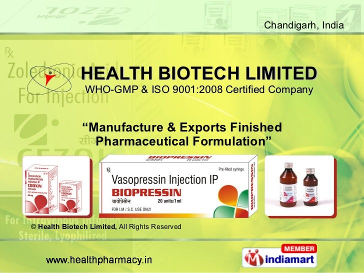 """HEALTH BIOTECH LIMITED WHO-GMP & ISO 9001:2008 Certified Company """" Manufacture & Exports Finished  Pharmaceutical Formulat..."""