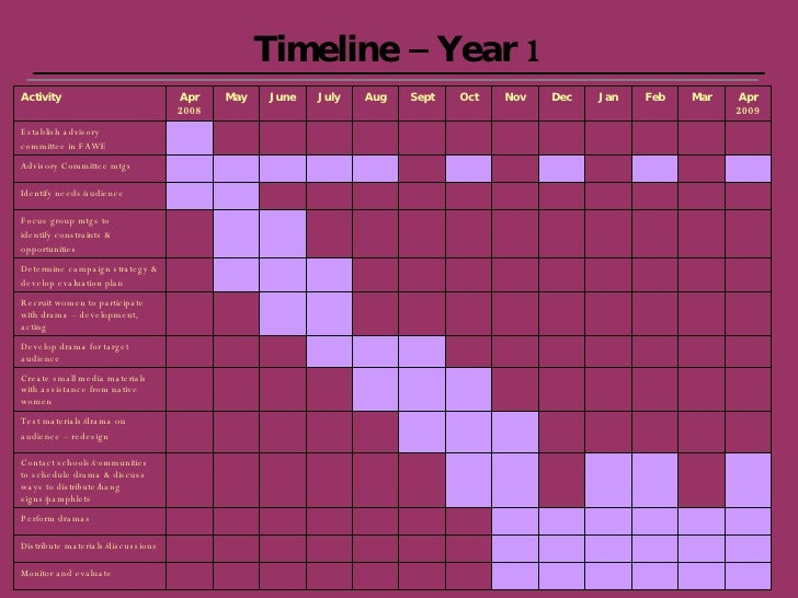 Timeline – Year 1 Monitor and evaluate Apr 2009 Mar Feb Jan Dec Nov Oct Sept Aug July June May Apr 2008 Distribute materia...