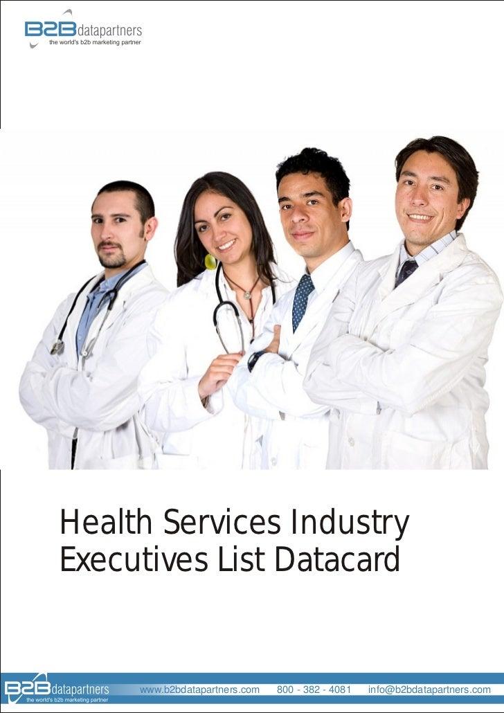 Health Services Industry Executives List Datacard