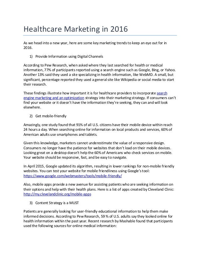 Healthcare Marketing in 2016 As we head into a new year, here are some key marketing trends to keep an eye out for in 2016...