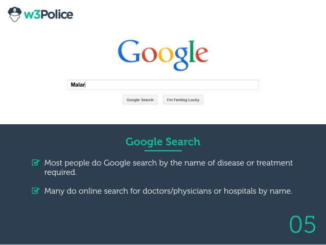 05 GoogleSearch MostpeopledoGooglesearchbythenameofdiseaseortreatment required. Manydoonlinesearchfordoctors/physiciansorh...