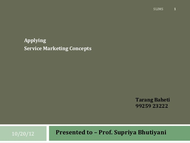 SLIMS     1    Applying    Service Marketing Concepts                                           Tarang Baheti             ...