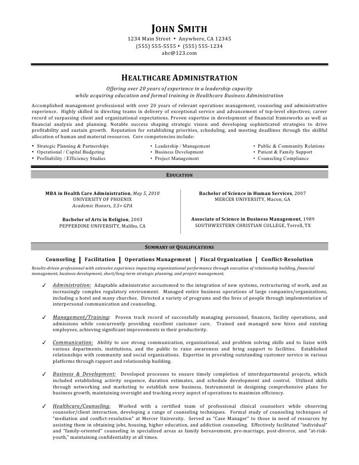 Home health administrator resume