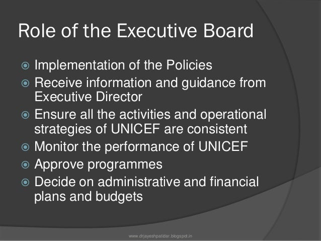 Role of the Executive Board Recommend new initiatives to theCouncil Encourage and examine newprogramme initiatives Subm...
