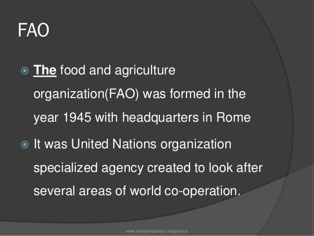 AIMS OF FAOThe chief aims of FAO are as follows;1)to help nations raise living standards.2)to improve the nutritional stat...