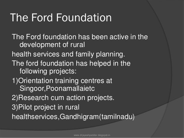 Activities4)Establishment of NIHAE5)Calcutta water supply and drainageScheme6)Ford foundation Supports Familyplanning for ...