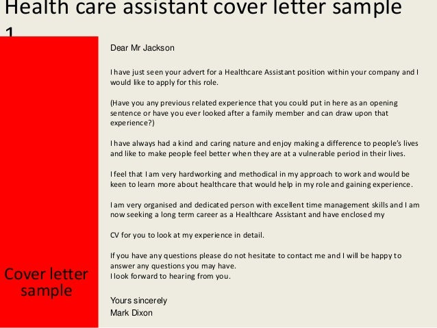 Health Care Assistant Cover Letter - Care assistant responsibilities