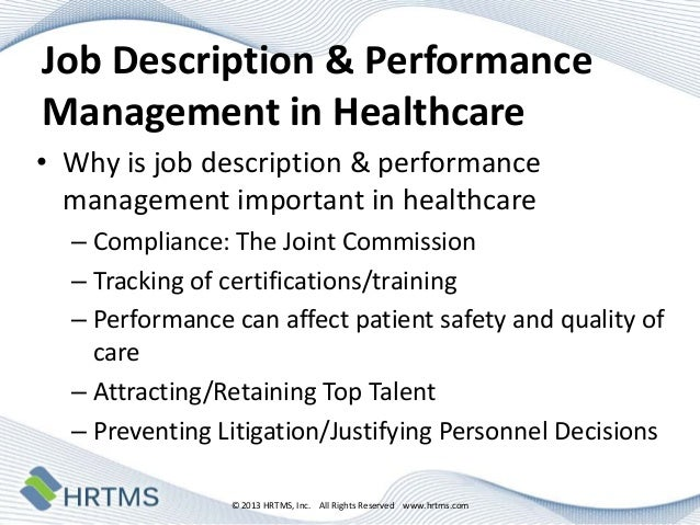 Healthcare Success Stories Innovations In Job Description  Perfor
