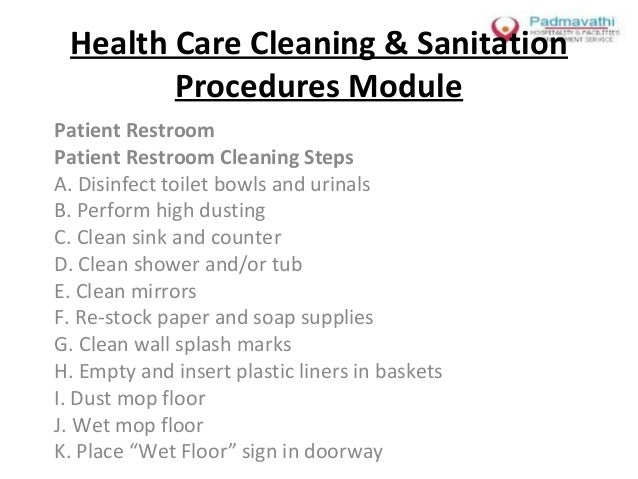 Health Care Cleaning Sanitation Procedures Module