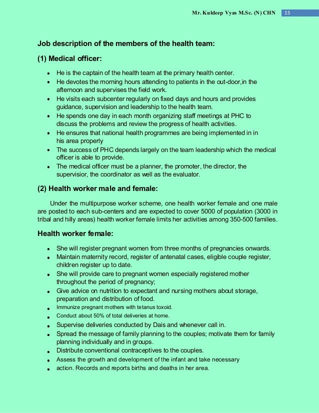 Mr. Kuldeep Vyas M.Sc. (N) CHN 15 Job description of the members of the health team: (1) Medical officer: He is the captai...