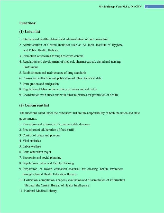 Mr. Kuldeep Vyas M.Sc. (N) CHN 2 Functions: (1) Union list 1. International health relations and administration of port qu...